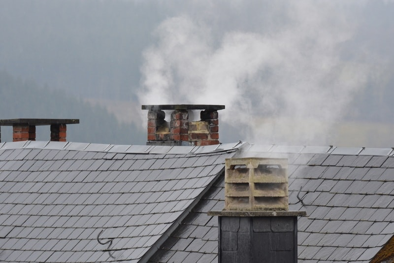 Cold winter chimney roof